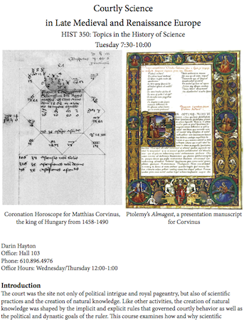 Syllabus from HIST 350—Courtly Science in Renaissance Europe