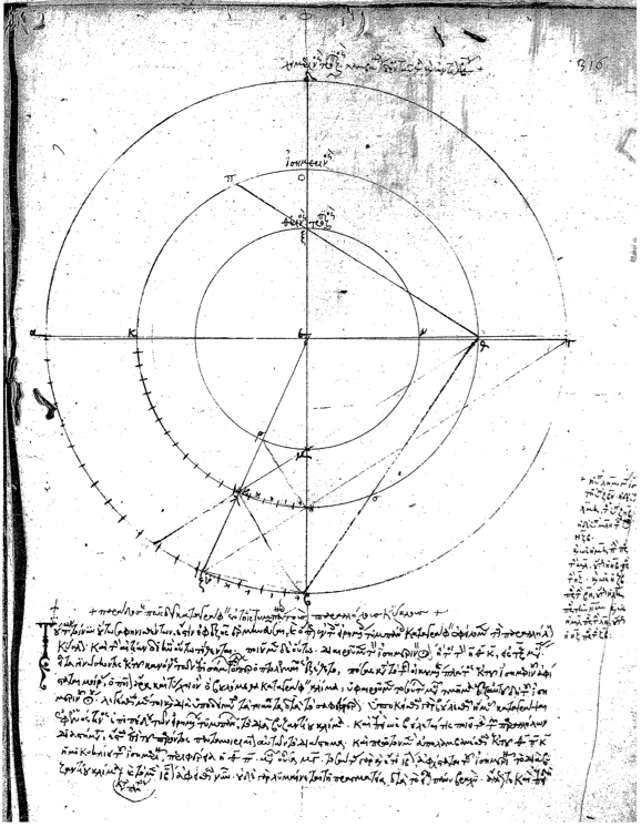 A digram from Gregoras's text on how to construct an astrolabe.