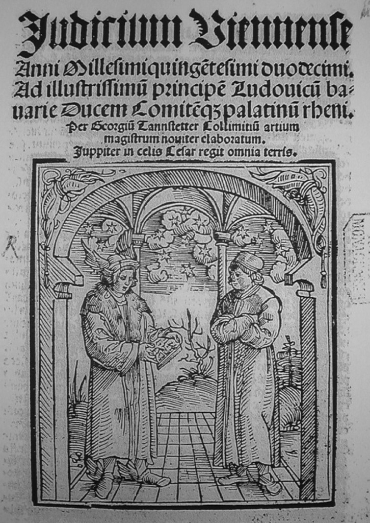 Title-page wood-cut from the Wolffgang Huber edition of Tannstetter's Judicium Viennense (This is a screen shot from the copy is in the Bayerische Staatsbibliothek, Munich, Sig. 4° Astr.P 510.22).