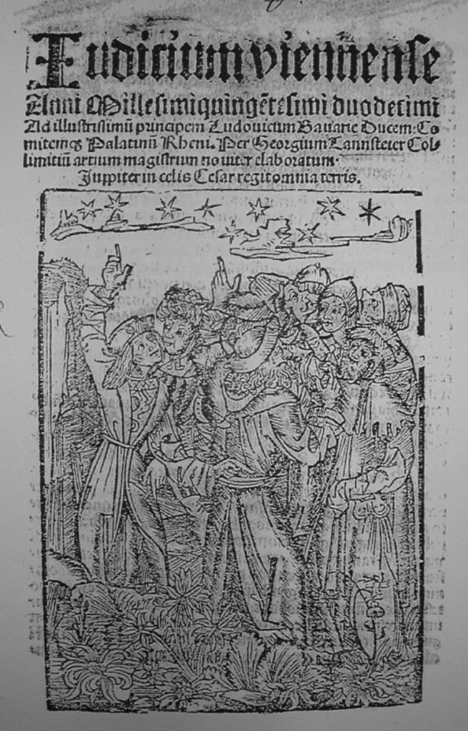 Title-page wood-cut from the Nussia edition of Tannstetter's 1512 Judicium Viennense ((This is a screen shot from the copy is in the Bayerische Staatsbibliothek, Munich, Sig. 4° Astr.P 510.21).