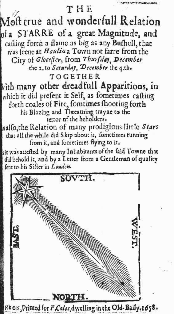 The anonymous pamphlet, The Most True and Wonderfull Relation of a Starre of a Great Magnitude, and casting for a flame as big as any Bushell (1658), printed for F. Coles in London, offered an interpretation of a recent comet.