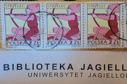 Sagittarius riding a motorcycle on the 2 złoty Polish postage stamp.