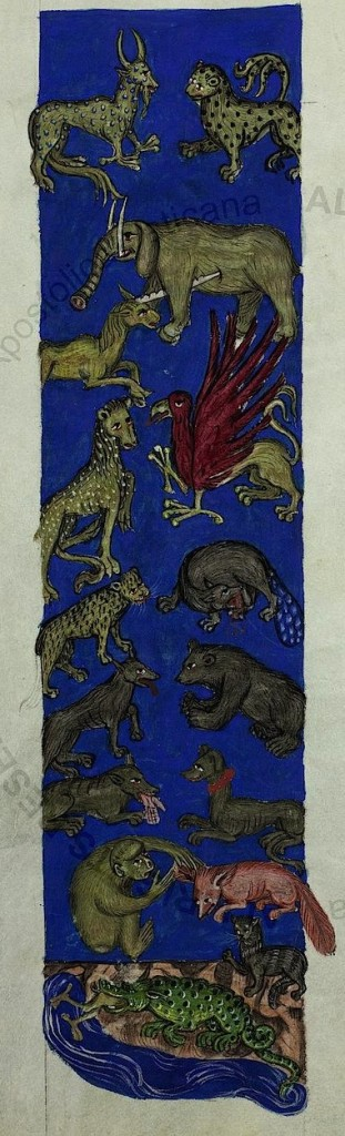 A unicorn skewers and elephant; a canine-looking creature with a beaver's tale seems to be eating itself while another is finishing off a human hand, and the legs of a bird-like creature are sticking out of an alligator (Pal. lat. 291, fol. 86v).