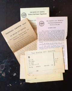 Early 20th-century leaflets and prescriptions from Boston City Hospital.
