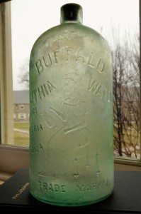 A large bottle that once contained Buffalo Spring Lithia Water.