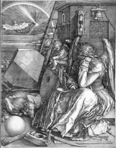 Albrecht Dürer's Melancholia with its prominent comet.