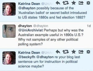 Katrina Dean politely explained to me why in 1892 the Australian Ballot system was useful knowledge.
