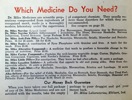 In 1932 Alka-Seltzer was just one of many patent medicines sold by Dr. Miles.