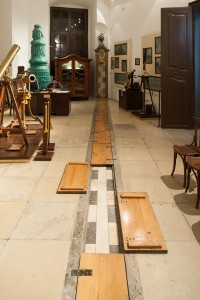The meridian line inside the astronomy museum.