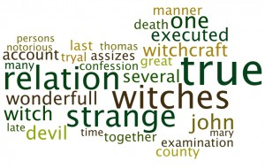 The 30 most common words in the titles of witchcraft and possession pamphlets (the original can be found here).