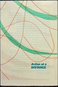 "The cover of Sarah Nicholls's ""Action at a Distance"" pamphlet."