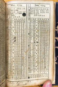 A table from Gadbury's Ephemerides showing Benjamin Eastburn's annotations and corrections.