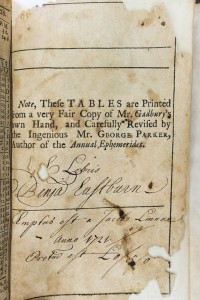 The last page of Gadbury's Ephemerides where Benjamin Eastburn signed his name and noted how much he paid Jacob Linnox for the book.