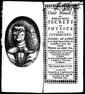 The Countess of Kent's A choice manual of rare and select secrets in physic was a popular recipe book in the latter 17th century.