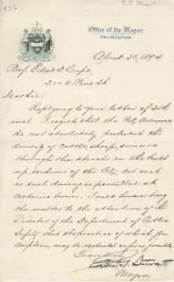 Letter from Philadelphia Mayor Stuart to E.D. Cope.