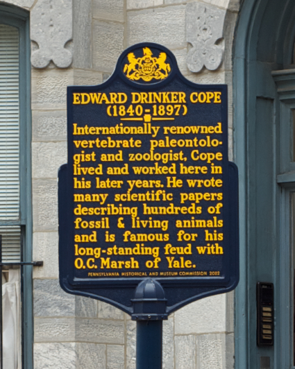 The plaque identifying Cope's house and noting some of his achievements.