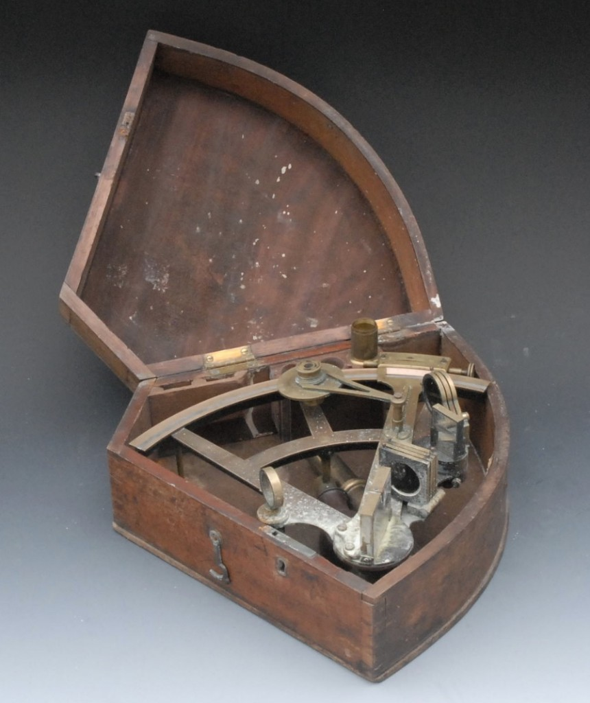 Mitchell's sextant probably resembled this one, perhaps even with a nice mahogany case. 19th-century sextant's are readily available for reasonable prices. Bamford's auctioned this one a couple years ago.
