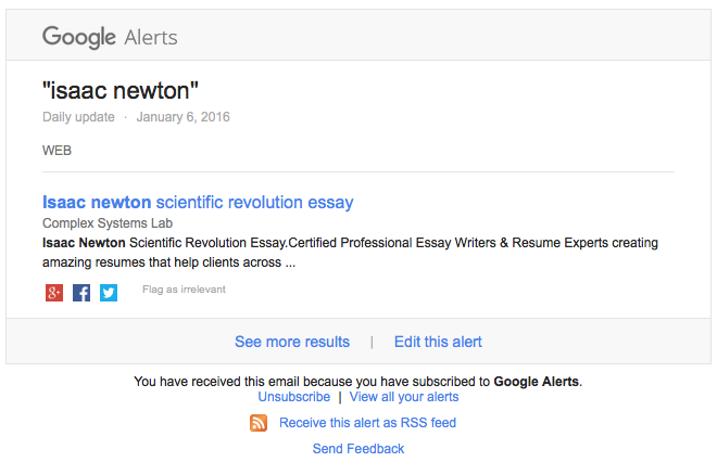 "At first glance, this Google alert seems normal. But then you notice the ""Complex Systems Lab."""