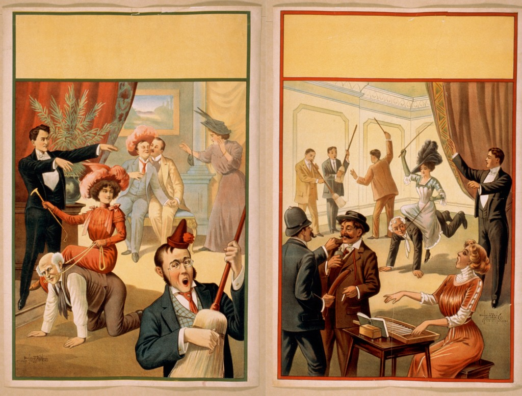 These two posters were produced by the Donaldson Lithography Co. They were generic—in the empty space at the top performers or theaters would have printed the details about the performance, e.g., the hypnotist's name, the date, and probably the location of the show. Both posters depict a young woman holding a riding crop and reigns. The originals are at the Library of Congress: poster on the left and poster on the right.