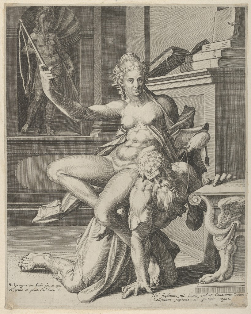 Johannes Sadeler's engraving from the mid- to late-16th century reflects the standard visual vocabulary that had come to represent the story of Phyllis riding Aristotle. Source: Phyllis and Aristotle by Johannes Sadeler, The Metropolitan Museum of Art, New York, Harris Brisbane Dick Fund, 1953 (53.601.10(25)) http://www.metmuseum.org/Collections/search-the-collections/652755