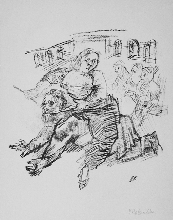 "Oskar Kokoschka's 1913 version of Phyllis on Aristotle depicts Phyllis with riding crop and reigns riding Aristotle around inside some room while three figures watch. ""Aristoteles und Phyllis at the L.A. County Museum of Art."