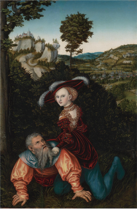 In Lucas Cranach the Elder's version of Phyllis and Aristotle from 1530, Phyllis doesn't have a riding crop or reigns, but holds tightly on to Aristotle's beard. This copy sold recently at Sotheby's for $4Mil.
