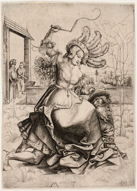 This early 16th-century drawing of Phyllis Riding Aristotle by Master M.Z. (ca. 1500) depicts a clothed Phyllis riding Aristotle in a walled garden while Alexander (?) watches (original at the Art Institute of Chicago).