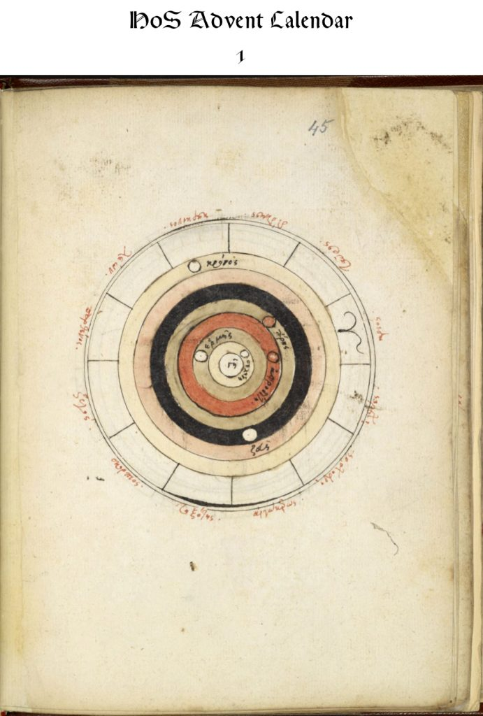 A 16th-century copy of a Byzantine diagram of the geocentric cosmos from Royal MS 16 C XII, fol. 45r.