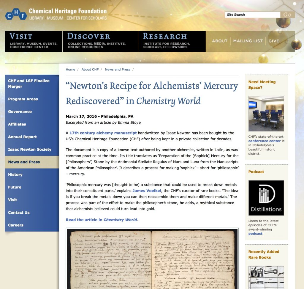 Original CHF webpage excerpting Chemistry World article.