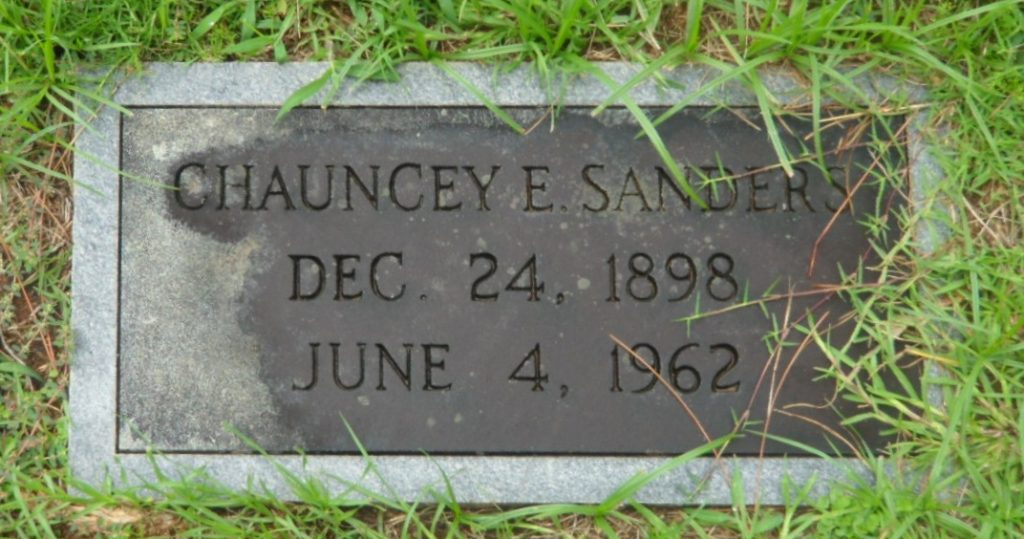 Photo of Chauncey Sanders's tombstone