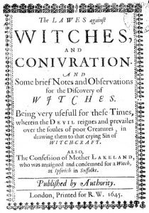 The Lawes against Witches and Coniuration—a witchcraft pamphlet printed in 1645.