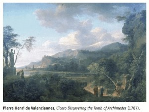 Pierre Henri de Valenciennes's Cicero Discovering the Tomb of Archimedes (1787) (screen shot from Pesic's review).