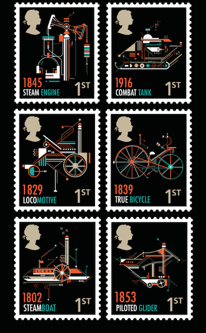 Petros Afshar's stamps highlight British inventions.