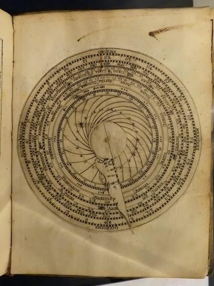 The elaborate volvelles in Giovanni Paduani's Liberalium artium professoris Viridarium Mathematicorum (1563).