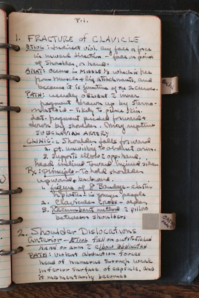 The first page of notes on fractures.
