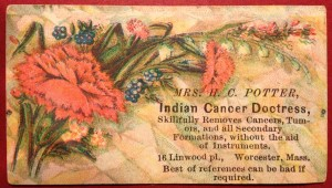 Mrs. H.C. Potter, Indian Cancer Doctress business card.