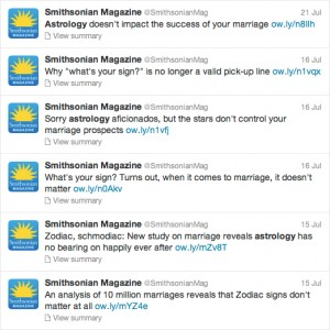 The Smithsonian Magazine's tweets about astrology and relationships.