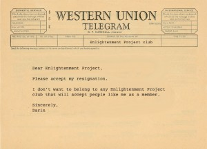 Telegram resigning from Enlightenment Project