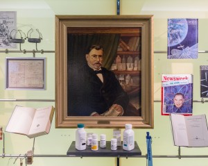 """A portrait of Paul Ehrlich, """"The Father of Chemotherapy"""" according to the label."""