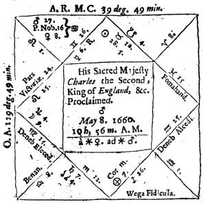 Gadbury's horoscope for the Restoration of Charles II, from Gadbury's Britain's Royal Star (1661).