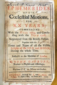 The title page from Gadbury's Ephemerides, with two previous owners' signatures, Benjamin Eastburn's and Jacob P. Jone's.