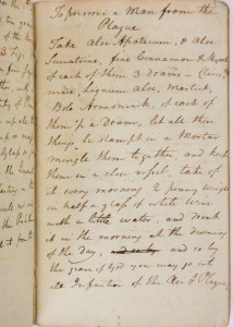 One of the many recipes for the plague Scattergood copied from the Countess of Kent.