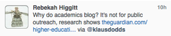 Becky points out that most academics don't blog for public outreach.