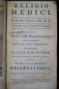 """The title page from Thomas Browne's Religio Medici, with an owner's signature: """"Cha. Biborn"""". (Source: Author's collection)"""