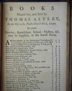 The list of books printed for and sold by Thomas Astley, including the format and price. (Source: Author's collection)
