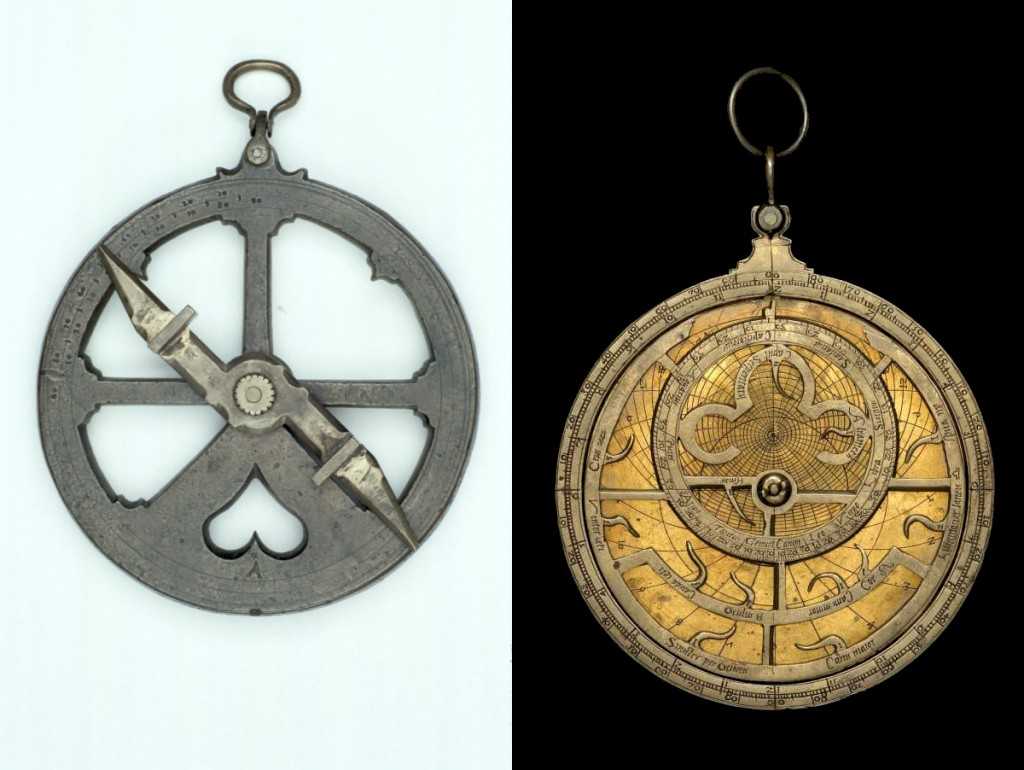 On the left is a typical mariner's astrolabe from ca. 1600, from the Museum of the History of Science, inventory #54253, found here. On the right is a planispheric astrolabe, usually called simply an astrolabe. This is an early 16th-century astrolabe from the Museum of the History of Science, inventory #52528, found here.