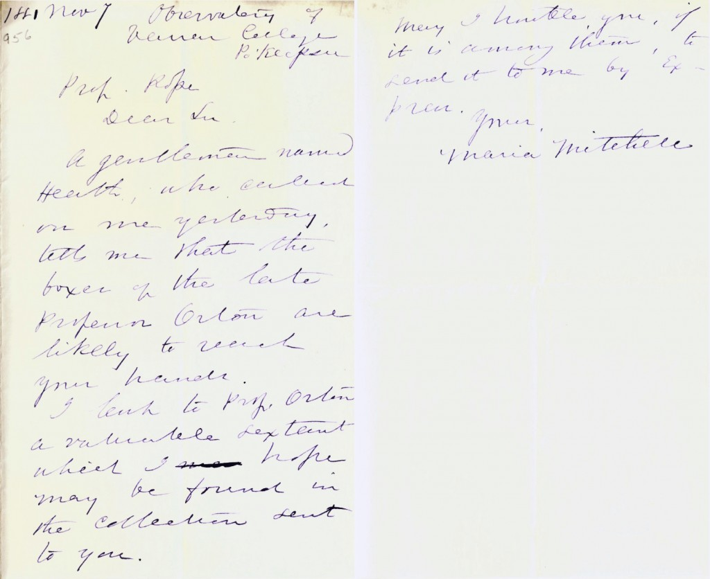 Maria Mitchell's letter to E. D. Cope asking him to return her sextant if he finds it in a box of James Orton's things.