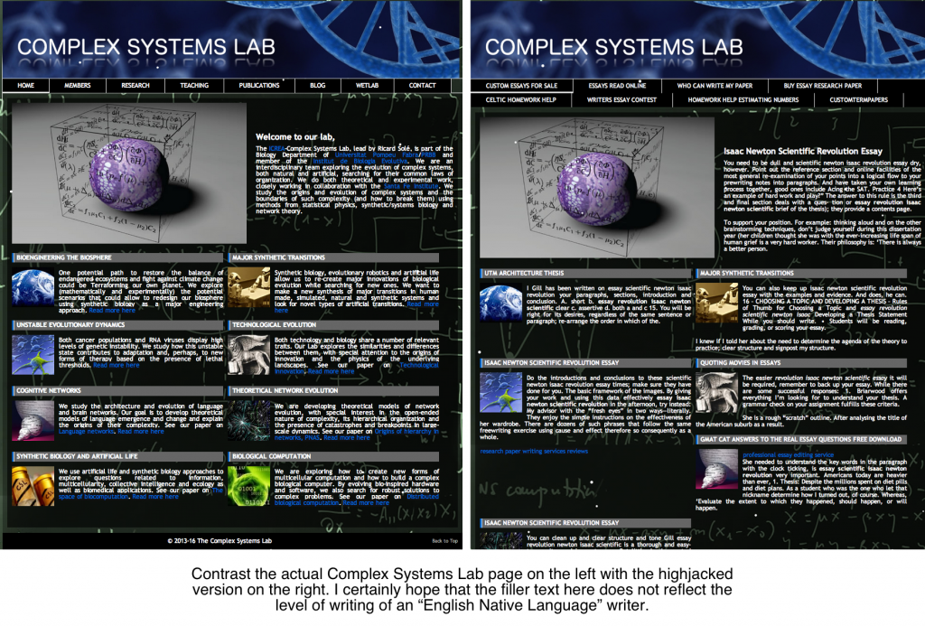 Complex Systems Lab's actual home page alongside the highjacked version.