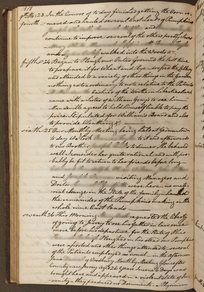 Bonsall's entry for September 26, 1818, the day Jane was admitted.