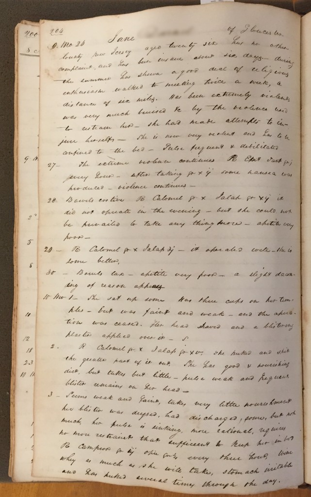 Dr. Lukens' medical register records his observations and the treatments administered to Jane.